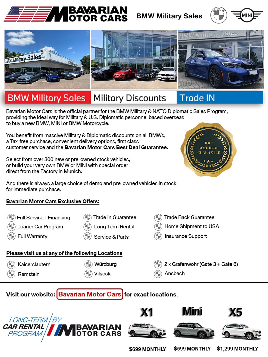 Bavarian Motor Cars BMW Military Sales MINI Military Sales